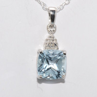 """Diamond and Blue Topaz Pendant Necklace 925 Sterling Silver 18"""" Chain"""