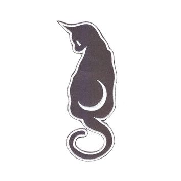 Designs Satanic Black Cat Moon Halloween Witchcraft Evil Sew On Patch Iron On Patches