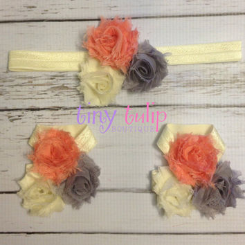 Baby Barefoot Sandal Headband Set...Coral, Yellow, Grey Baby headband and Sandal Set