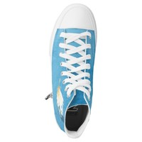 Blue Watercolor Feather Zipz Hightops Printed Shoes