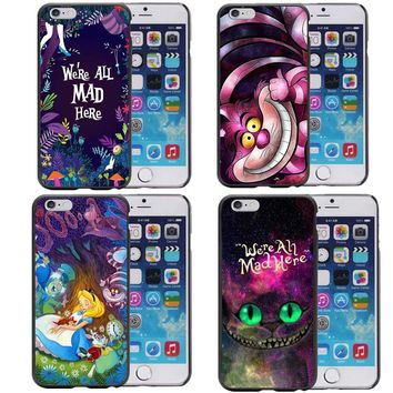 Alice in Wonderland Nebula for Galaxy Space Cheshire Cat Hard Phone Cover Case for iPhon 5 5S SE 6 6sPlus 7 7 Plus 8 8Plus X 10
