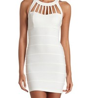STRAPPY CAGED-NECK BODYCON DRESS
