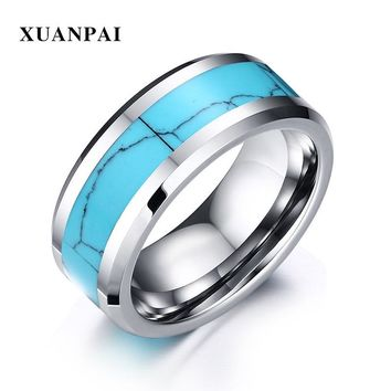 XUANPAI Classic Simple Design Tungsten Rings Men Blue Turquoises Natural Stone Rings For Male Charm Party Rings