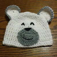 Baby Bear hat, Cute Polar White Bear Cap is great Crochet Beanie Prop for Sleeping Baby Boy Photos, made in custom sizes, newborn to 1 year