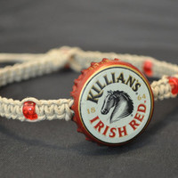 Killians Irish Red Recycled Beer Cap Hemp Anklet - Unique jewelry, christmas stocking stuffer