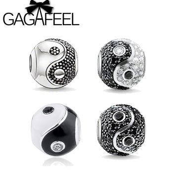 GAGAFEEL Big Hole Yin&Yang Beads fit for Pandora Bracelet Necklace Chain for Women Men Elegant Handmade Charms with Rhinestone