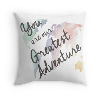 You are Our Greatest Adventure Nursery Pillow.  Travel Themed Nursery Decor.  Travel Theme Baby Shower. Travel Baby Shower Gift