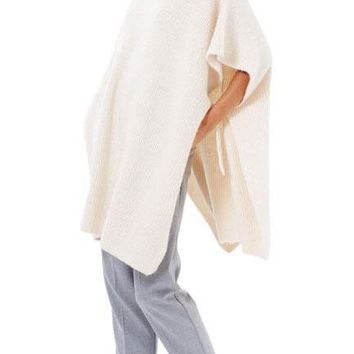 Fashion Long Knit Top Poncho Cape Sweatshirts Beige Short Sleeve High Neck Autumn Pullovers Female
