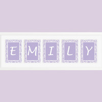 Personalized Nursery Letters, Custom Decor Prints, Lavender Lace and Lavender Dots, Girl Name Prints, Custom Name Art, Nursery Decor, 8x10