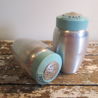 Turquoise Kromex Salt and Pepper Shakers by VintageShoppingSpree