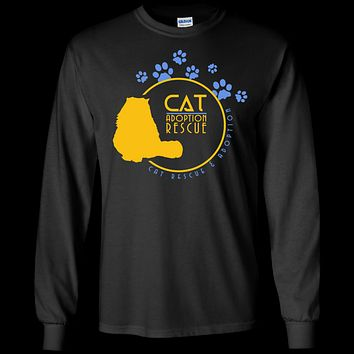 Custom LS Cotton T-Shirt, Cat Adoption & Rescue