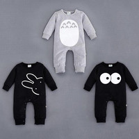 Baby Clothes Fashion Cute Animal Romper Cartoon Big Eyes Baby Boy Girls Rompers Long Sleeved Coveralls Newborn Baby Jumpsuit