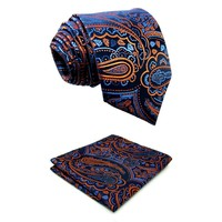 "Q8 Extra long size Floral Azure Golden Yellow Royal Blue Mens Necktie Set Ties Hanky 100% Silk Brand New Fashion 63"" Slim"