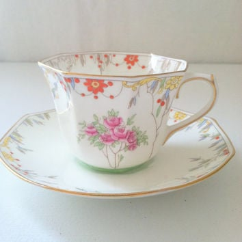 Vintage Royal Doulton Downton Abbey Inspired Tea cup and Saucer Made in England Garden Tea Party