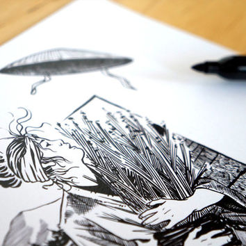 """Japanese girl in a paddy field - illustration black and white themed """"Japan"""" - Art Print A4"""