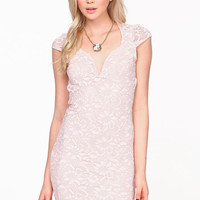 CURVED LACE BODYCON DRESS