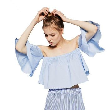 ICIKHY9 2016 Summer Style Fashion Women's Off Shoulder Smock Top Cute Brief Ruffles Girl's PETITE Structured Bardot Top Short Blouse