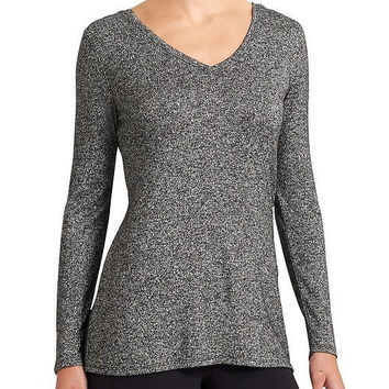 Dark Gray V-Neck Long Sleeve Knit T-Shirt