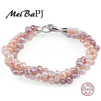 [MeiBaPJ]Natural mixed color pearl bracelet pure handmade bangle Freshwater pearl with real 925 silver clasp fine jewelry
