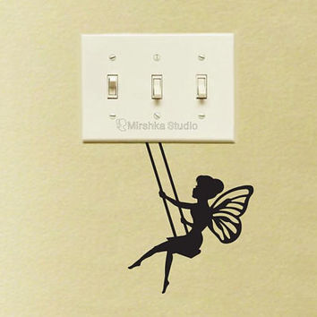 Fairy On a Swing Wall Sticker - Tinker Bell Fabric Silhouette Laptop Decal - Vinyl Wall Sticker - Kids Room Wall Art - Pixie Nursery Decor