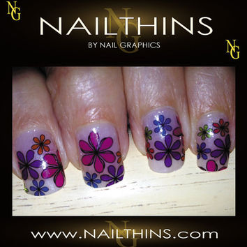 DAISIES  PINK Multi Color  Full Nail  Decal  Nail by NailGraphics