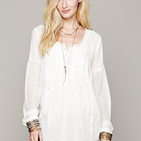 Free People Womens Ruffle Pintuck Top - Bone S