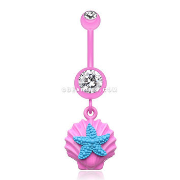 Ariel's Starfish Shell Belly Button Ring (Pink/Clear/Teal)