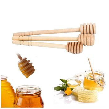 1 PC Mini Portable Wooden Honey Spoon Stick For Honey Jar Long Handle Mixing Stick Stirring Rod Spoon Kitchen Tools