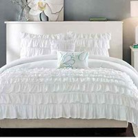 BEAUTIFUL MODERN CHIC WHITE RUFFLED RUCHED TEXTURE SOFT COMFORTER SET & PILLOWS
