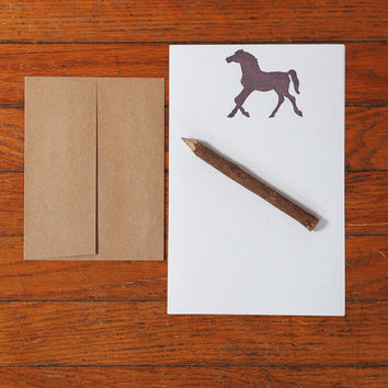 Horse Stationery Set, letter writing stationary equestrian hemp paper