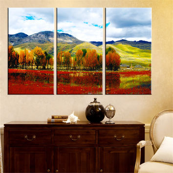 Canvas Painting Tree Scenery Wall Oil Painting Art Picture Mountain River Landscape Wall Art Home Decoration for Room Decor 3Pcs