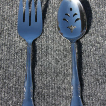 Oneida Custom Dining Flatware Floral Pattern 1 Meat Fork & 1 Slotted Spoon