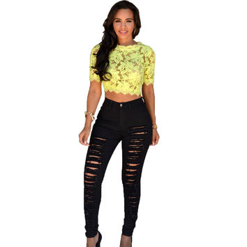 Stretchy Destroyed High Waist Skinny Women Hole Jeans