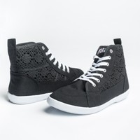 Black canvas high-top sneakers with lace