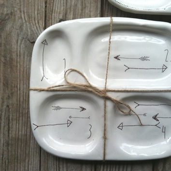 handmade functional white arrow ceramic lunch tray by nelledesign