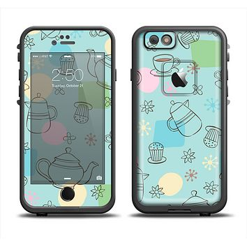 The Subtle Blue With Coffee Icon Sketches Apple iPhone 6 LifeProof Fre Case Skin Set