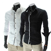Contrast Trim Long Sleeve Button Down