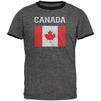 World Cup Distressed Flag Canada Mens Ringer T Shirt