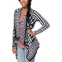Empyre Girls Black & White Tribal Print Wrap Sweater at Zumiez : PDP