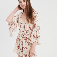 AE Cross Front Bell Sleeve Romper, Cream
