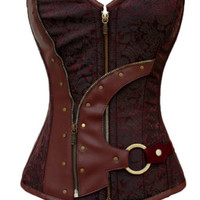 Brown Zip Up Brocade Steampunk overbust women waist training body sexy corset