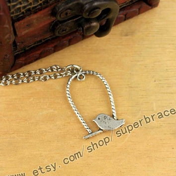 Ball cage bird, birdcage necklace, Antique Silver necklace, necklace, daily simple jewelry, graduation gift