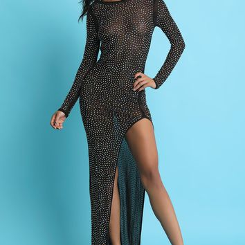 Rhinestone Glitter Studded Mesh High Slit Backless Maxi Dress