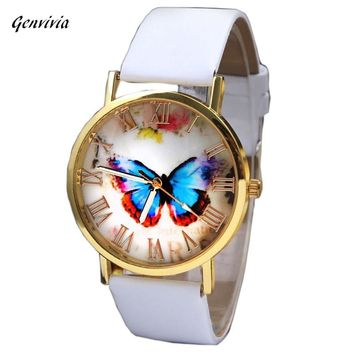 GENVIVIA 2017 High Quality 1 pcs Women's Watches Men Quartz Watch Wrist 3 colors Watch Butterfly reloj Leather Band watch