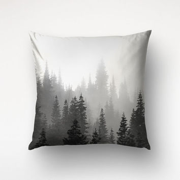 Black White Pillow, Landscape Photo, Tree Pillow, Nature Art, Cotton Twill Fabric
