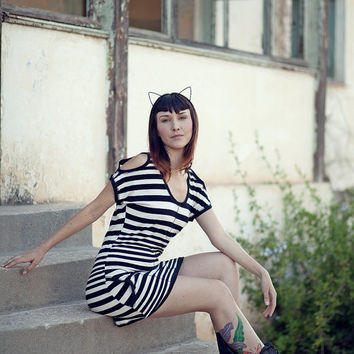 Black and White Striped Dress, Cut out Funky Dress