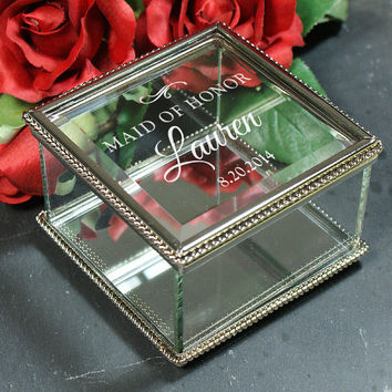 Engraved Wedding Party Jewelry Box