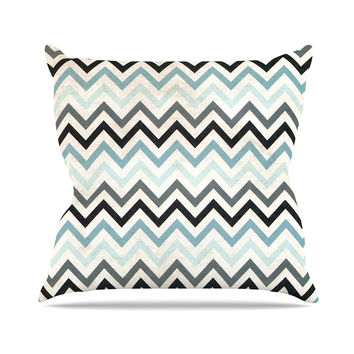 "Heidi Jennings ""Blue Chevron"" Gray Aqua Throw Pillow"