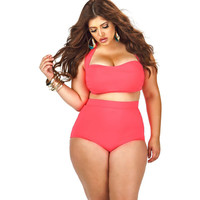 Halter High Waist Plus Size Swimwear LAVELIQ