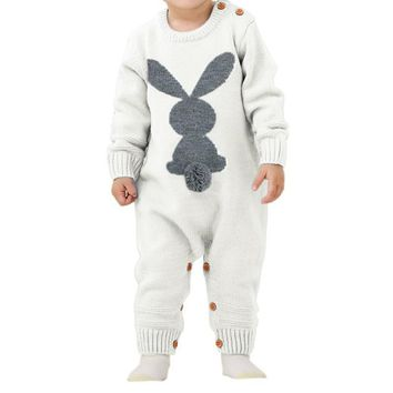 Knitted Rabbit Tail Patchwork Infant Romper